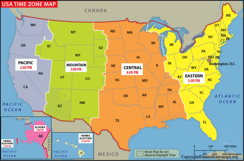 US Map with Time Zone