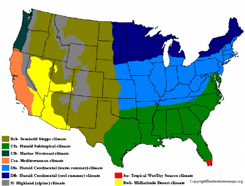 Climate Map of US