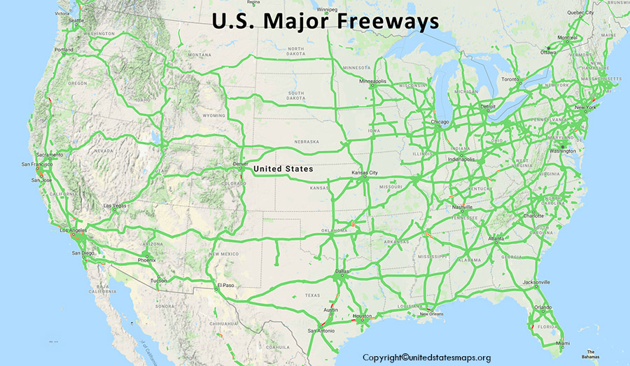 Printable Highway Map of United States