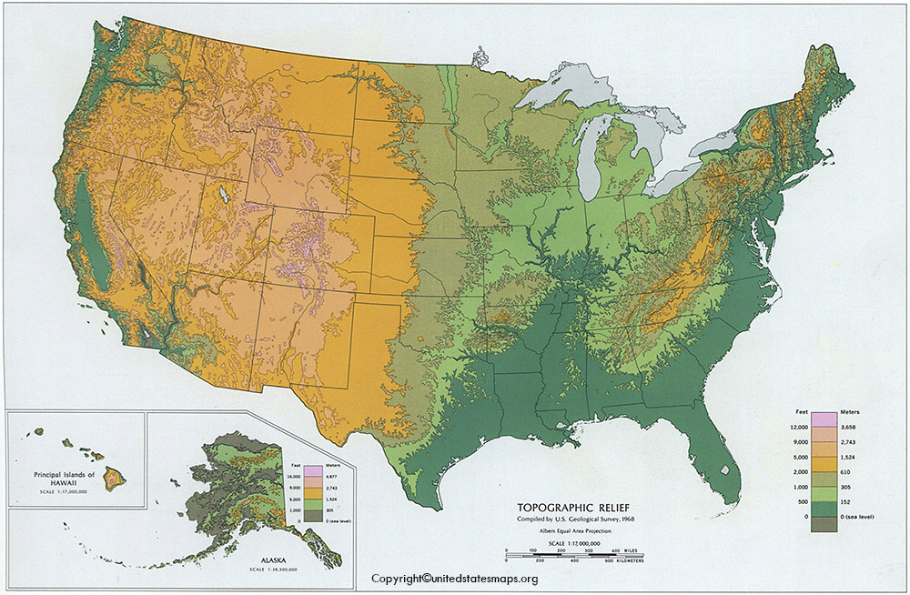 US Topographic Map with States