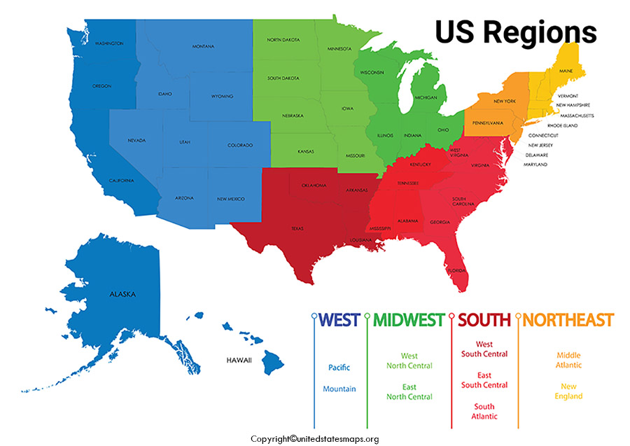 Printable Regions Map of United States